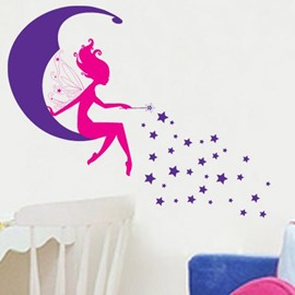 Fantastic Wonderful Moon Spirit and Stars Wall Sticker