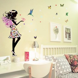 Wonderful Pretty Faery and Butterfly Pattern Removable Wall Stickers