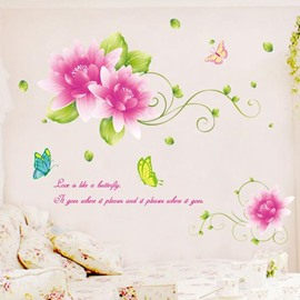 Top Selling Beautiful Pink Flowers Wall Stickers
