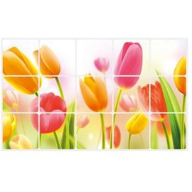 Fantastic Tulips Glass Ceramic Tile Kitchen Hearth Removable Wall Stickers