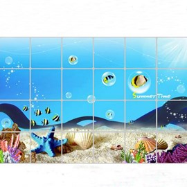 Top Selling Aluminum Foil Seaworld Kitchen Hearth Removable Wall Stickers