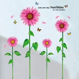 Cheap Pretty PVC Sunflowers Decorative Wall Stickers