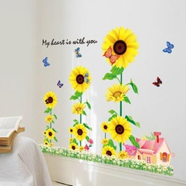 Amazing Pretty Layers of Sunflowers Wall Stickers