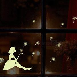 Amazing Blowing Dandelion Girl 5-Piece Luminous Wall Stickers