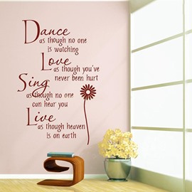 Romantic English Poem Love's Paradise Words and Quotes Wall Sticker