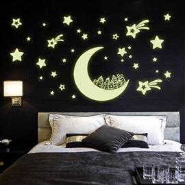 Amazing Romantic Luminous Moon and Stars Removable Wall Sticker