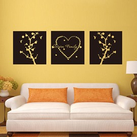 Creative Wall Art Prints Style Heart 3-Panel Removable Wall Sticker