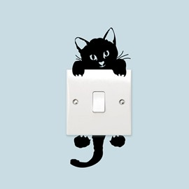 Cute Black Cat Light Switch Removable Sticker