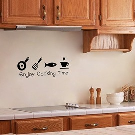 Enjoy Cooking Time Kitchen Removable Wall Sticker