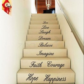 Inspiring Letters and Words Love Hope Wall Staircase Removable Wall Sticker