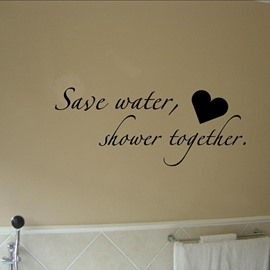 Creative Letters Save Water Shower Together Bathroom Removable Wall Sticker