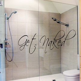 Creative Bathroom Get Naked Glass Tile Removable Wall Sticker