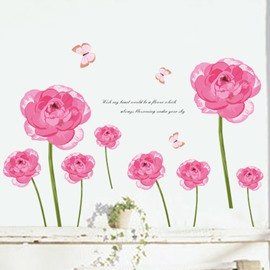 Gorgeous Pastoral Red Flowers and Butterfly Removable Wall Sticker