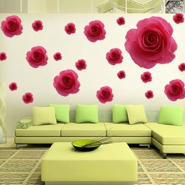 Romantic Red Roses Bedroom Living Room Removable Wall Sticker