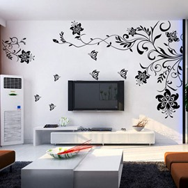 Black Flowers Removable TV/Sofa Background Wall Stickers