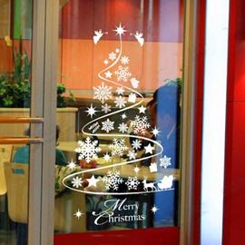 Christmas Decoration Snowflake Tree Window Glass Removable Wall Sticker