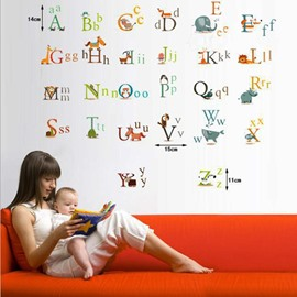 Creative Letters ABC Words with Cartoon Animals Nursery Kidsroom Removable Wall Sticker