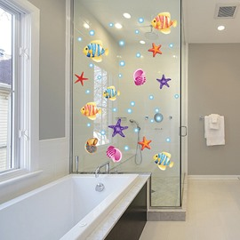 Cartoon Sea Fish and Starfish Removable Window Glass Bathroom Wall Sticker
