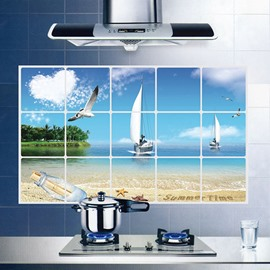 Wonderful Beach Seagulls and Sailing Boat Kitchen Hearth Oil-Proof Removable Wall Sticker