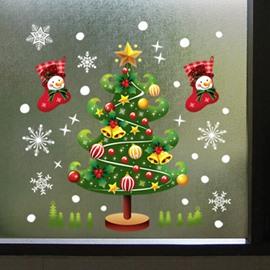 Wonderful Double-Side Chritstmas Tree Pattern Window Glass Removable Wall Sticker