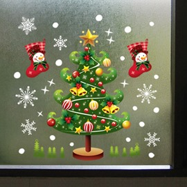 Wonderful Double-Side Chritstmas Tree Pattern Window Glass Removable Wall Sticker