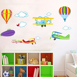 Balloons Planes and Clouds Nursery/Kids-room Waterproof Wall Sticker
