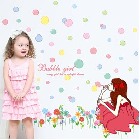 Beautiful Young Girl Blow Bubbles Removable Wall Sticker