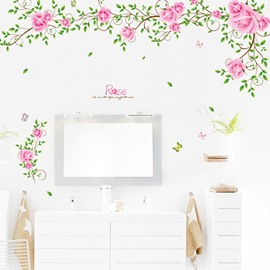 Fabulous Roses Blossom on Vines TV Wall Background Removable Wall Sticker