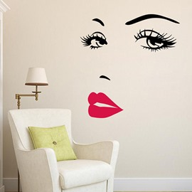Audrey Hepburn Face Black and Red Wall PVC Waterproof Stickers