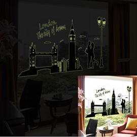 Wonderful Romantic Noctilucent London Scenery Pattern Wall Sticker