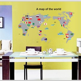 Unique Decorative Map of World Pattern Wall Sticker