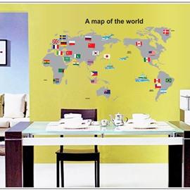 Unique Decorative Map of World Pattern Wall Sticker