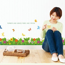 Simple Style Flower and Butterfly Pattern the Foot of Wall Sticker