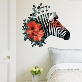 Beautiful Flower Horse Head Pattern Wall Sticker