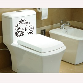 Cute Rabbit Bathroom Removable Wall Sticker