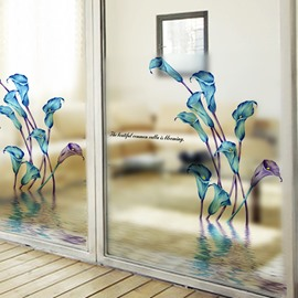 Wonderful Blue Calla Lily Pattern Glass Wall Sticker