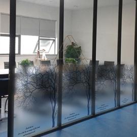 Beautiful Black Tree and Letter Pattern Glass Wall Sticker