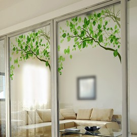 Green Tree Pattern Decorative Glass Wall Sticker
