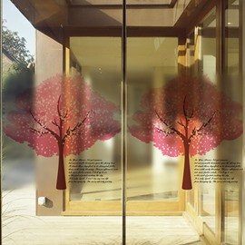 Beautiful Two Red Tree Pattern Glass Wall Sticker