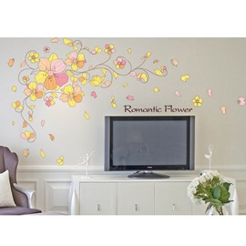 Simple Yellow Flowers Pattern Home Decorative Wall Sticker