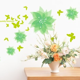 Green Flowers and Butterflies Wall Sticker