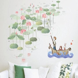 New Arrival Lotus and Boat Pattern Wall Sticker