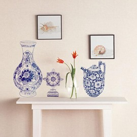 New Arrival Blue and White Porcelain Wall Stickers for Home Decoration