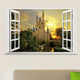 Beautiful Window Castle Pattern Home Decorative Wall Sticker