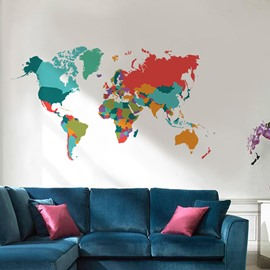 New Arrival Colorful World Map Wall Stickers