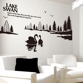 Black Lake Swan Wall Stickers for Home Decoration