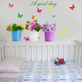 Amazing Flowers and good Day Letters Wall Stickers for Home Decoration