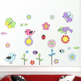 Simple Flowers and Birds Wall Stickers for Home Decoration