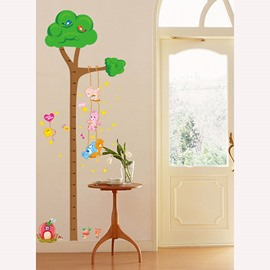 Simple Green Tree Height Measurement Kids Wall Stickers for Home Decoration