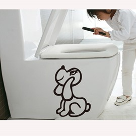 Cute Little Dog Toilet Wall Stickers for Home Decoration